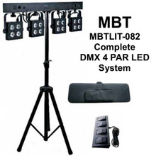 MBT MBTLIT-082 Complete DMX 4 Par LED Light System with Tripod, Case and Foot Controller $30 Instant Coupon use Promo Code: $30-OFF