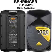 BEHRINGER B112MP3 2000w Wireless Option PA Speaker System Pair