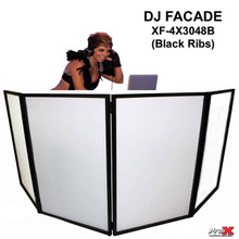 PRO-X XF-4X3048B Black Ribbed DJ Facade with Interchangeable Transparent Black/White Scrims