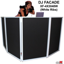 PRO-X XF-4X3048W White Ribbed DJ Facade with Interchangeable Transparent Black/White Scrims