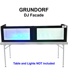 GRUNDORF GS-LS1658T Tabletop DJ Facade with Black Ribs and White Lycra Panels