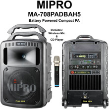 MiPRO MA-708PADBAH5 Portable Wireless Bluetooth Battery Powered Personal PA Microphone & CD Player $50 Instant Coupon Use Promo Code: $50-OFF
