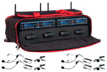 VOCOPRO UDH-PLAY-4-MIB Mix & Match 8 Mic Headset / Lavalier Wireless System in Carry Case