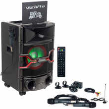 """VOCOPRO KARAOKE ROCK-ON ROLLER All-In-One System with Mics, Remote, LED Lights & 10"""" LCD Screen  $10 Instant Coupon Use Promo Code: $10-OFF"""