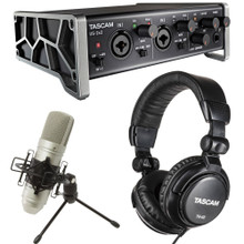 TASCAM US-2X2 TRACKPACK Audio Recording Bundle with Interface, Condenser Microphone and Headphones