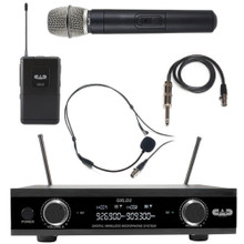 CAD GXLD2-HB Digital Dual Channel with Handheld, Headset Microphones and Guitar Cable Wireless System