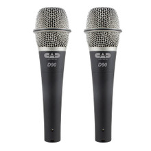 CAD D90 Lead Vocal Premium Supercardioid Dynamic Handheld Microphone Pair with Case & Clip