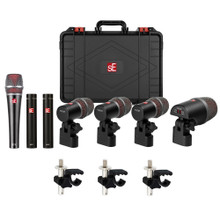 SE ELECTRONICS V PACK ARENA Professional 7 Mic Drum Pack with Clips and Case