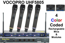 VOCOPRO UHF5805 (4) Mic Rackmount Rechargeable Wireless System