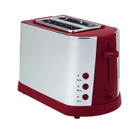 Prestige Stainless Steel & Red 2 Slice Toaster