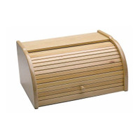 Kitchen Craft Bread Bin with Roll Top in Beech Wood 40cmx28cmx18cm