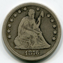 1876 Seated Liberty Quarter, F