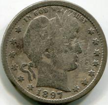 1897 O Barber Quarter , VG