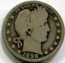 1898 O Barber quarter , G+