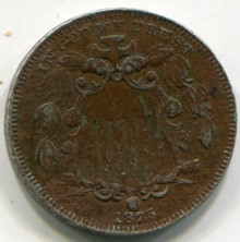 1875 Shield Nickel  Net VG Corroded