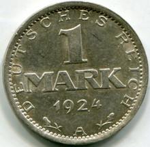 1924 A Germany Weimar Republic 1 Mark UNC