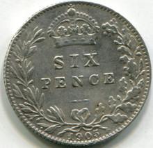 1905 Great Britain Six Pence  KM749  XF
