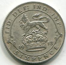 1913 Great Britain Six Pence  KM815  F