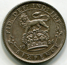 1926 Great Britain Six Pence  KM828  UNC