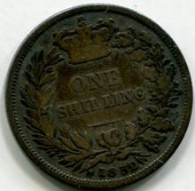 1852 Great Britain  1 Shilling KM754  F