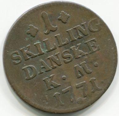 1771 Denmark Skilling  Km616.2  F