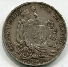 1894 Guatemala 1 Peso  counter stamped on Peru 1 Sol  KM224