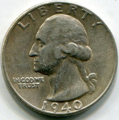 1940  S Washington Quarters AU55