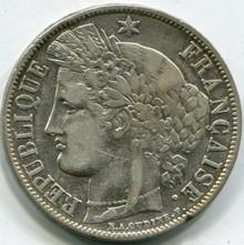 1851 A France  5 Francs KM#761.1   XF