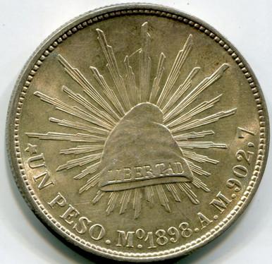 1898 Mo AM Mexico 1 Peso KM#409.2 Re struck 1949 UNC  .7857 ASW