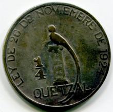 1925 Guatemala 1/4  Quetzal KM#240.2  F   .1929 ASW