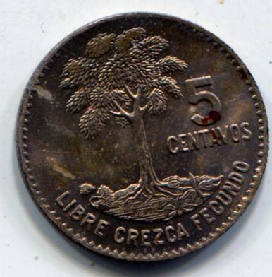 1961 Guatemala 5 Centavos KM#261  UNC    .0386 ASW