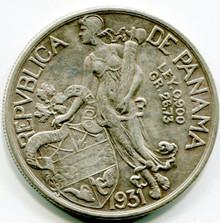 1931 Panama 1 balboa KM#13  XF  .7734 ASW