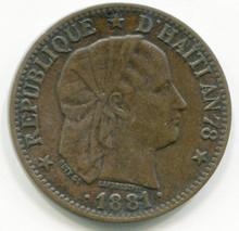 1881 Haiti Centime KM#42 AU