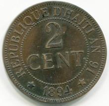 1894 Haiti 2 Centimes KM#49  AU