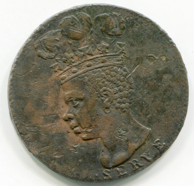 1792 Barbados Penny KM#TN10  AU55