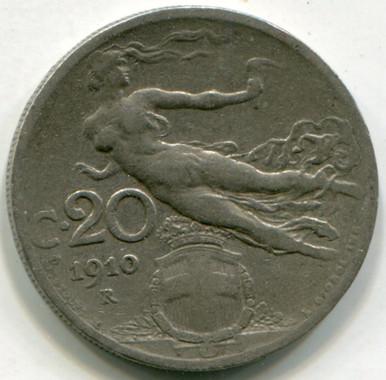 1910 R  Italy 20 Centesimi KM#44  XF45