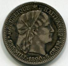 1890 Haiti 20 Centimes KM#45  XF  .1342 ASW