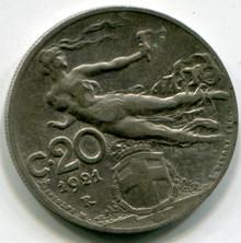 1921 R Italy 20 Centesimi KM#44  XF45