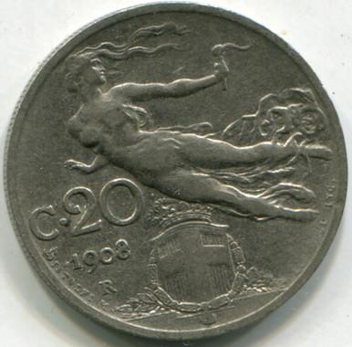 1908 R Italy 20 Centesimi KM#44  XF