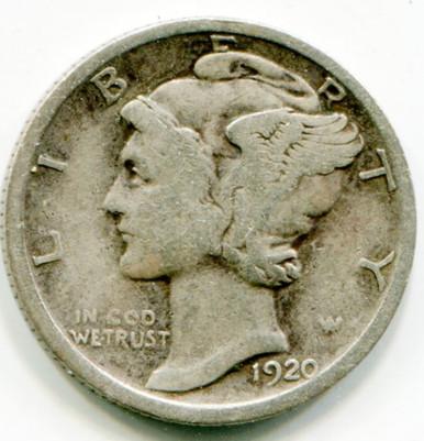 1920 Mercury  Dime  VG