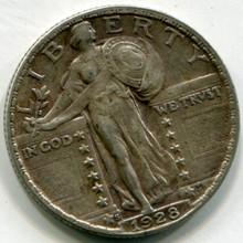 1928 S Standing Liberty  Quarter AU