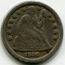 1856/1856  Seated Liberty Dime Double Date F+