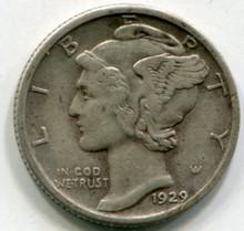 1929 Mercury Dime Double Die Date VF