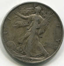 1937 S  Waking Liberty Half Dollar VF30