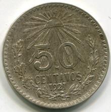 1921 Mexico 50 Centavos KM#447 AU