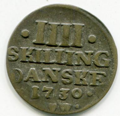 1730 CW Denmark 4 Skilling   XF
