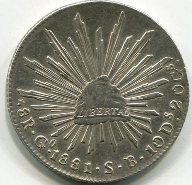 1881/71 Mexico 8 Reales  KM#377.8  AU