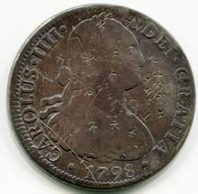 1798 FM Mexico 8 Reales KM#109 F+ (Chopmarks)