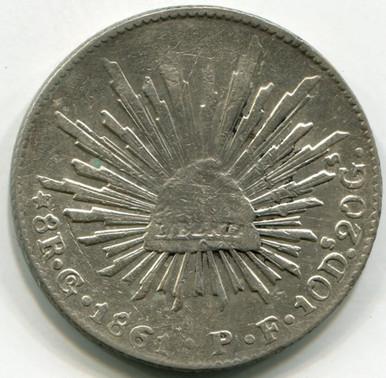 1861 GoPF Mexico 8 Reales KM#377.8   XF45