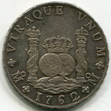 1762 MM  Mexico 8 Reales KM#105   AU